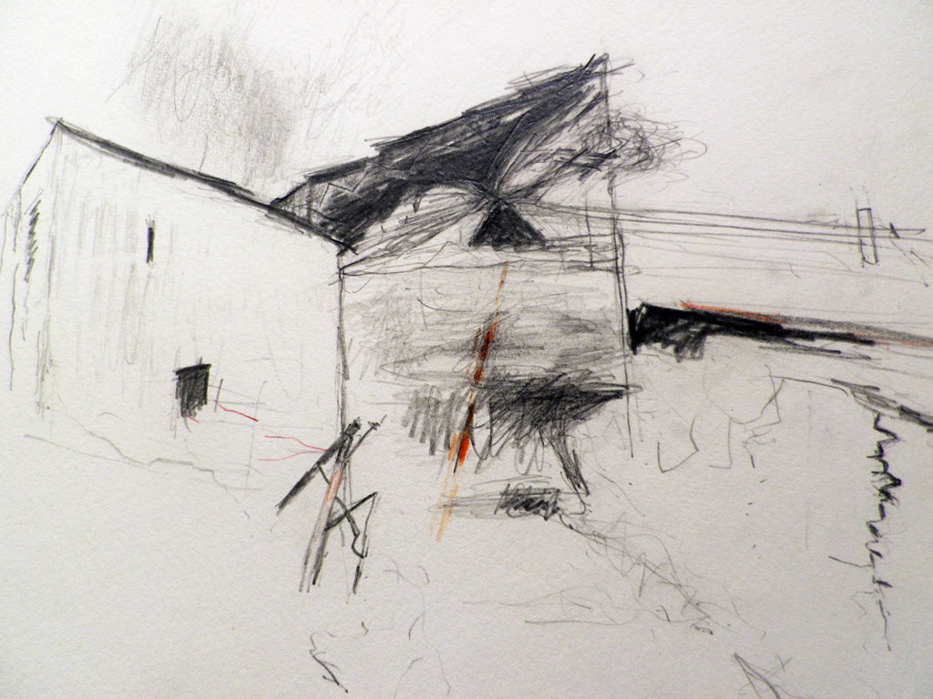 <em>Llwyn Celyn 2015, pencil on paper, sketchbook</em>